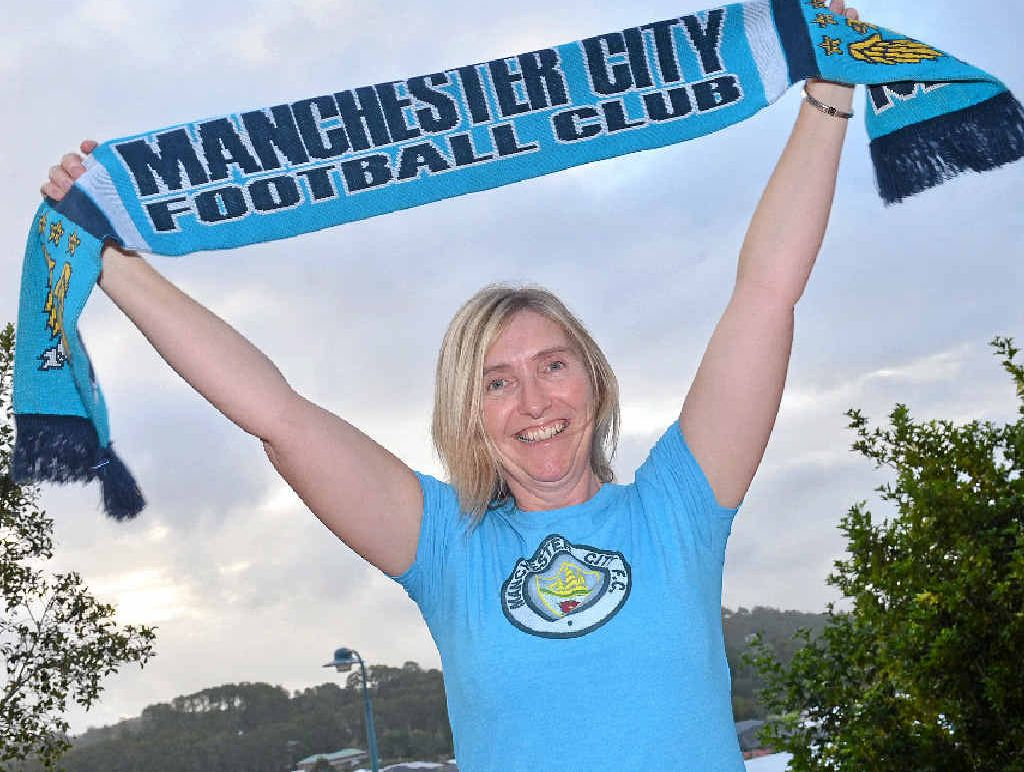 COME ON DOWN: Manchester City fan Jean Pateman is looking forward to the team coming to Australia to play Brisbane Roar.