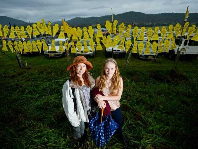 Alexandria Brown and Ayls Brown-Trout pictured at the bentley protest area. Photo Patrick Gorbunovs / The Northern Star