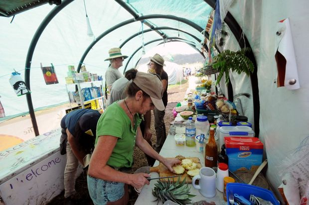 One of the food tents at the Bentley CSG protest on Monday. Photo Doug Eaton / The Northern Star