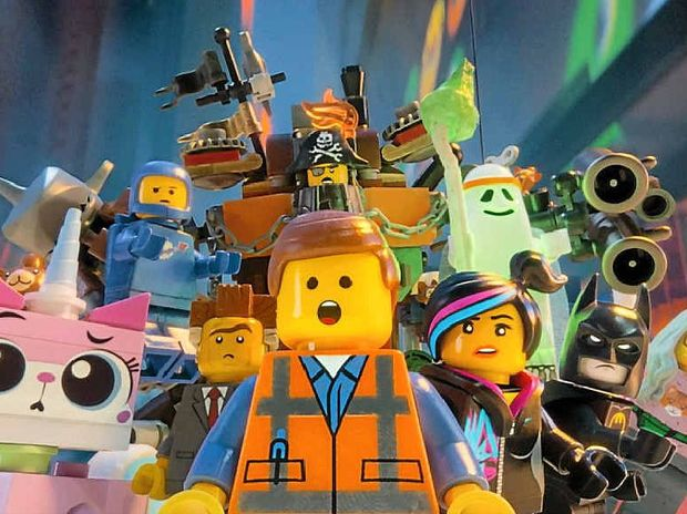 The character Emmet, centre, in a scene from The Lego Movie.