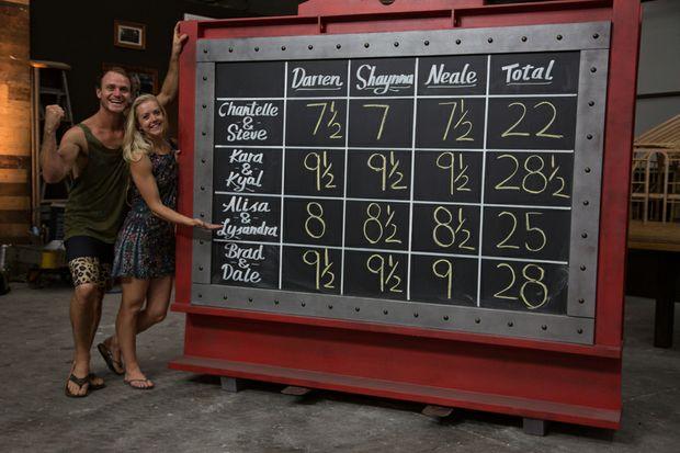 Kyal and Kara with the final scoreboard.