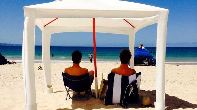 Mark Fraser has designed the Cool Cabana, seen here on Noosa Main Beach.