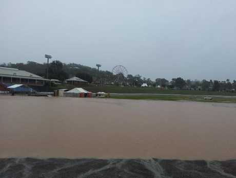 A flooded Toowoomba Showgrounds in the aftermath of Sunday's deluge.