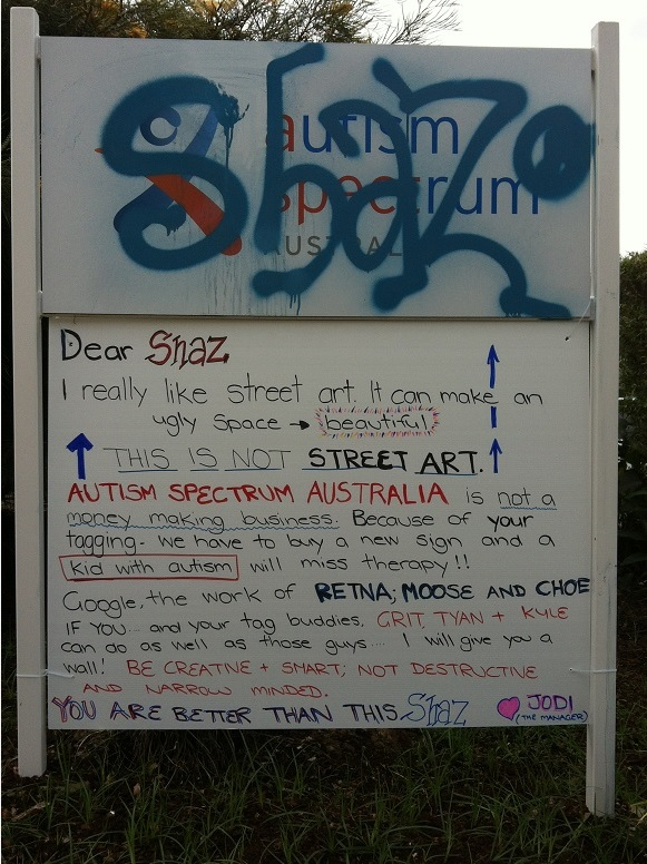 Austism Spectrum Australia manager Jodi Rodgers took an innovative response to dealing with a tagger who defaced her organisation's sign at Alstonville.