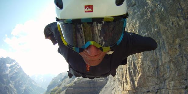 Dan Vicary during a flight using a wingsuit