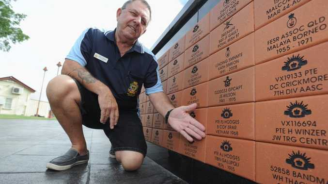 Phil Hodges with a brick commemorating his military service and also one for his great uncle Arthur John Hodges who was killed one week into Gallipoli and is buried at Lone Pine at the new Freedom Park war memorial.
