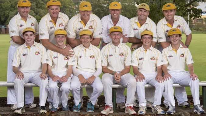 IN THE FAMILY: Fathers in the Northern Brothers Diggers Blue D grade team (back) Paul Hart, Warren Bradford, Jeff Philp, Craig Lawler, Wayne Hamlet and Peter Prince with their sons Matt Hart, Kane Bradford, Connor Philp, Sandin Draheim, Todd Hamlet and Lachie Prince.