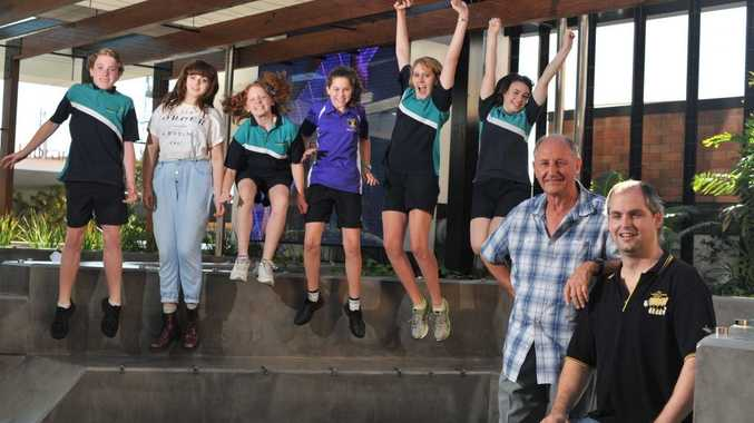 HIGH HOPES: High school students Harry Osborn, Izzy Tait, Ella Osborn, Delaney Burke, Remi Sayre and Briana Braithwaite are hoping to audition for a role in The Chrysalides musical, while writer Michael Lunan and music teacher Michael Reibel get to work.
