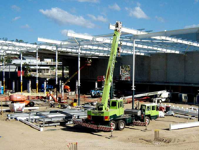 GOING AHEAD: Construction works at the site of Bunnings Warehouse on Brisbane St, West Ipswich, are making progress.