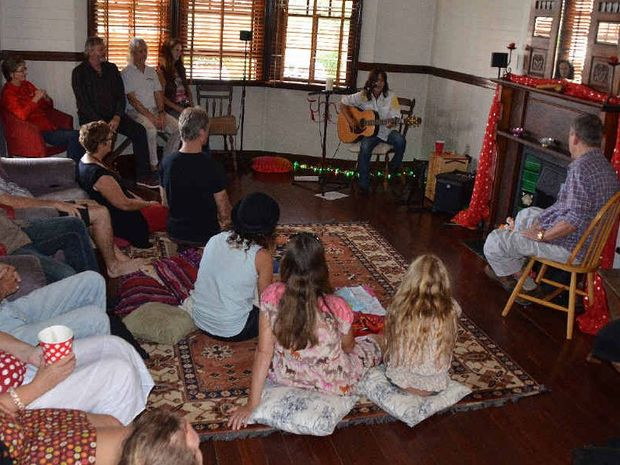 INTIMATE: Singer-songwriter Sara Tindley performs for an intimate crowd at a house concert in Mullumbimby last weekend.