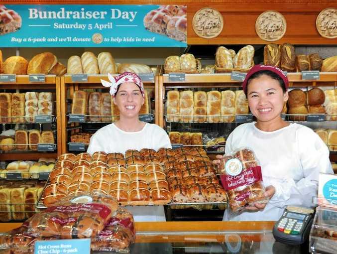 Sam Welling and Jen Maddock are preparing for Baker's Delight Bundraiser Day in Hervey Bay.