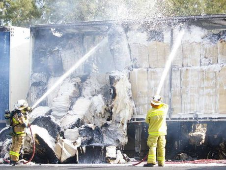 ROAD BLOCKAGE: The eastbound lanes of the Warrego Hwy at Minden were closed after a truck carrying cotton catches fire.