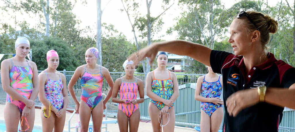 SUPER CLINIC: Olympic swimmer Mel Schlanger offers some valuable tips on technique and life as an elite competitor at the West Moreton Anglican College pool.