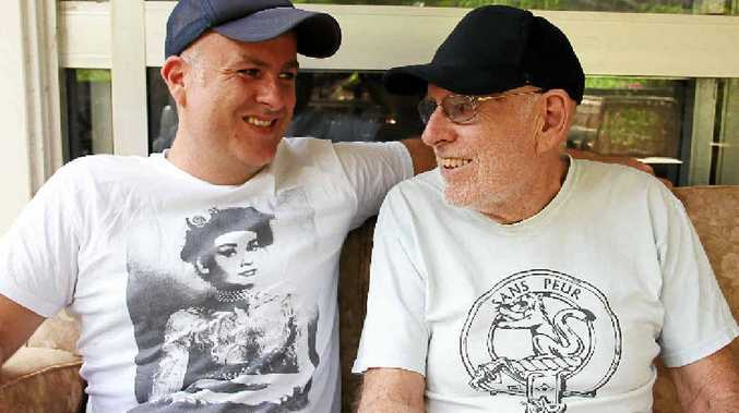 IN THE FAMILY: Skunkhour bassist Dean Sutherland with his father, acclaimed jazz guitarist and former Eureka macadamia farmer Ned Sutherland.