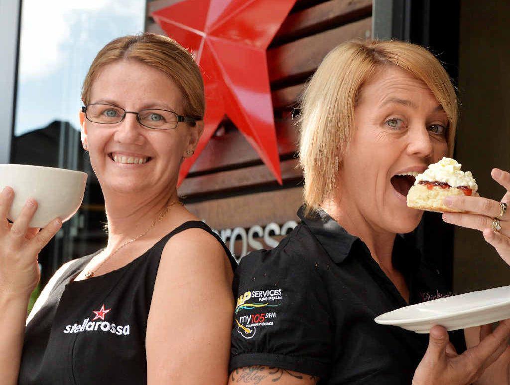 Mel Fowler and Raelene Wells hosting a Biggest Morning Tea event.