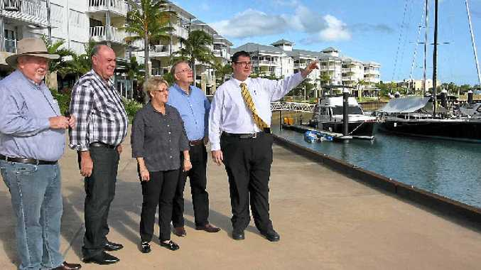 Dawson MP George Christensen (far right) presenting the Port of Airlie development to his federal colleagues and northern Australia committee members. Pictured from left to right are Senator Barry O'Sullivan, MP and committee chair Warren Entsch, MP Michelle Landry and Senator Ian MacDonald.