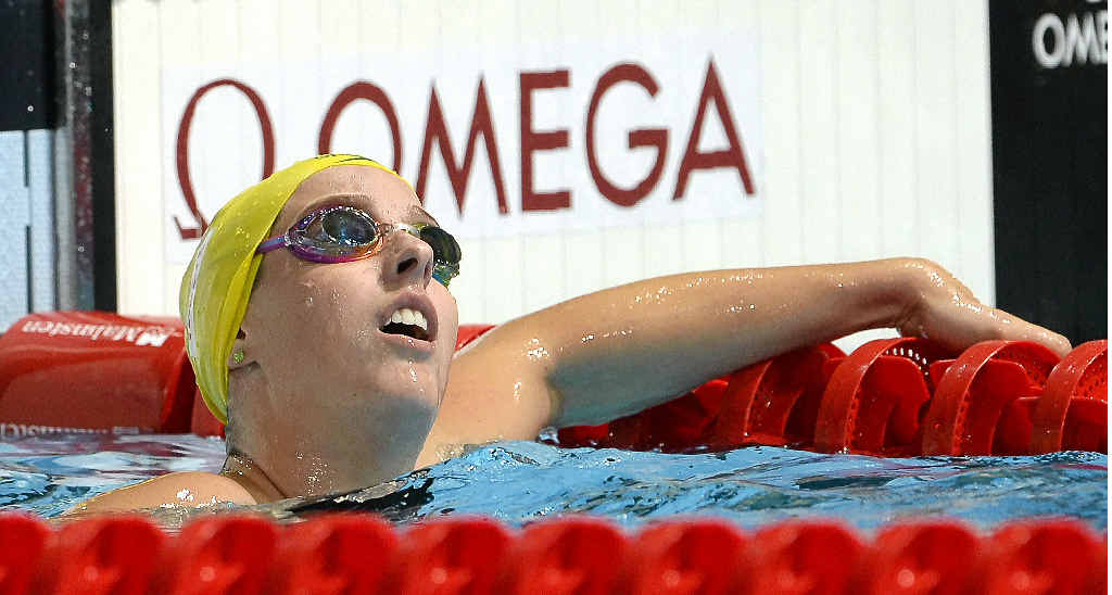 CLOSE CALL: Brittany Elmslie finished third in the 200m freestyle at the national championships last night. She is pictured here at the world championships last year.