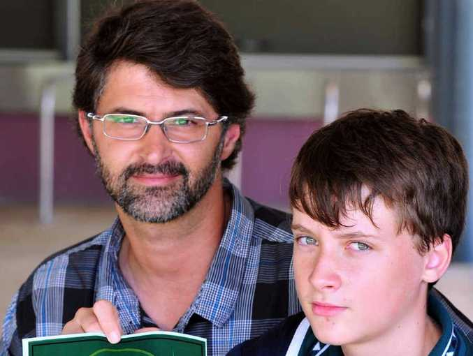 GOOD EFFORT: Noosa High School Year 8 student Kyle Topliff with Year 8 and 9 co-ordinator Adam Baker.
