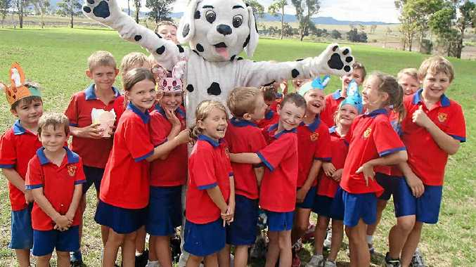 Daily Dalmatian celebrates the win with the students of Freestone State School.
