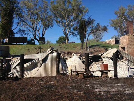 This house at Biddeston, just west of Toowoomba, was burnt to the ground overnight.