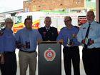 David Kohler, Glenn Power, assistant commissioner John Bolger, Keith Speirs and Brian Dale at Maryborough Fire Station. Aldershot Rural Fire Brigade volunteer Sarah Bellert also received a medal.