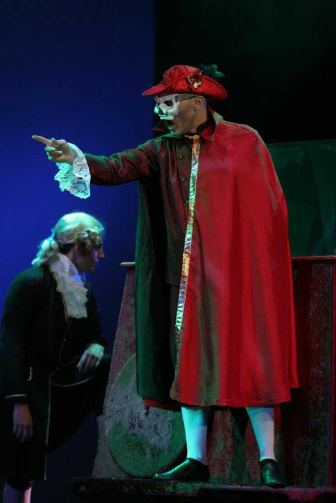 Brendon Walmsley as the Phantom of the Opera in Empire Theatre's Phantom of the Opera.