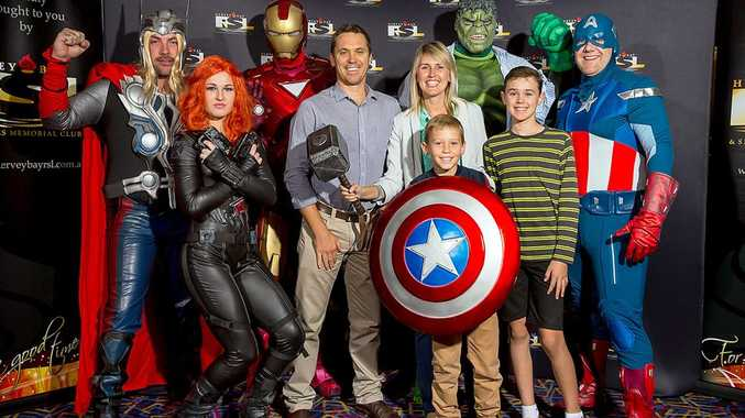 Tony, Jodie, Eddie and William Sprake pose with their heroes Captain America and the Avengers at a Hervey Bay RSL-hosted screening of Captain America - The Winter Soldier in Hervey Bay.