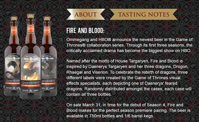 Ommegang's Fire and Blood red ale.