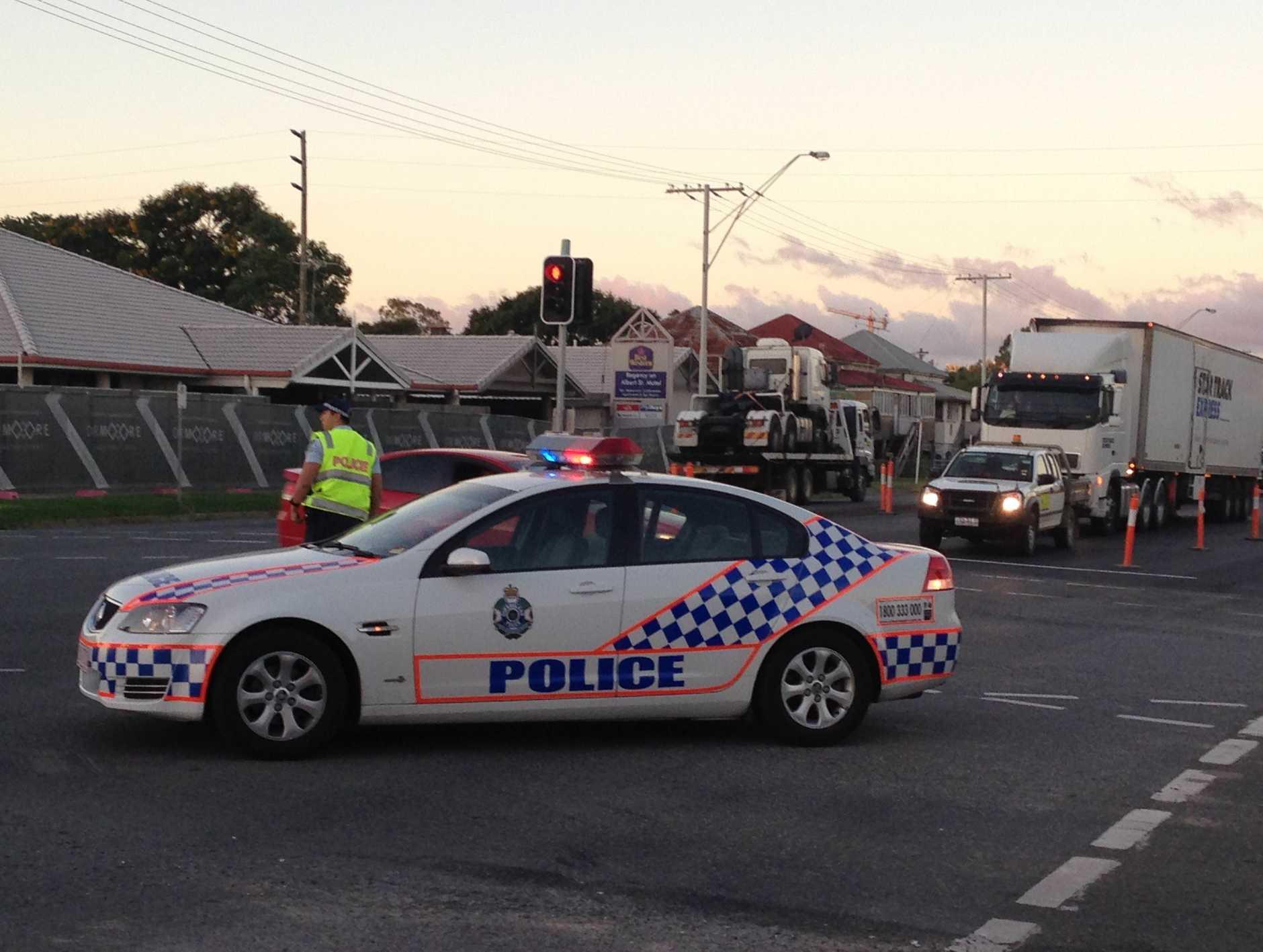 Police attend a gas leak in Albert St