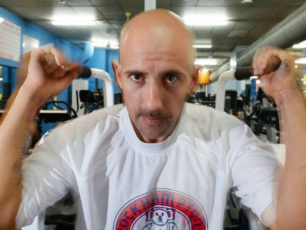 NEW ME: Rockhampton's Joe Lewis keeps up the hard work at Rockhampton Fitness Centre on East St after losing 48kg in five months. He has just 2kg to go before he reaches his goal weight.
