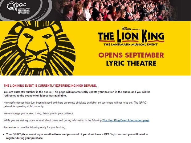 The message currently being displayed on QPAC's booking page.