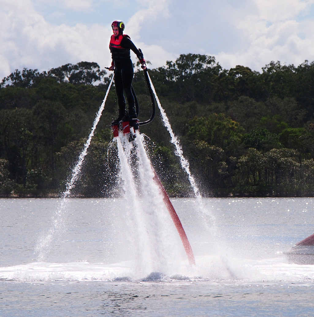 WONDER WOMAN: Janene Stanley gets a lift with a water jetpack.
