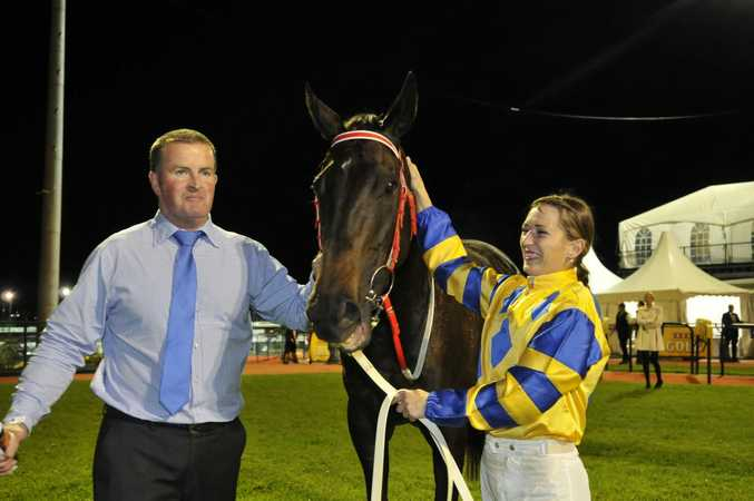 SECOND SUCCESS: Trainer Michael Nolan and jockey Skye Bogenhuber celebrate with Miss Imagica after the mare won last year's Weetwood Handicap at Clifford Park.