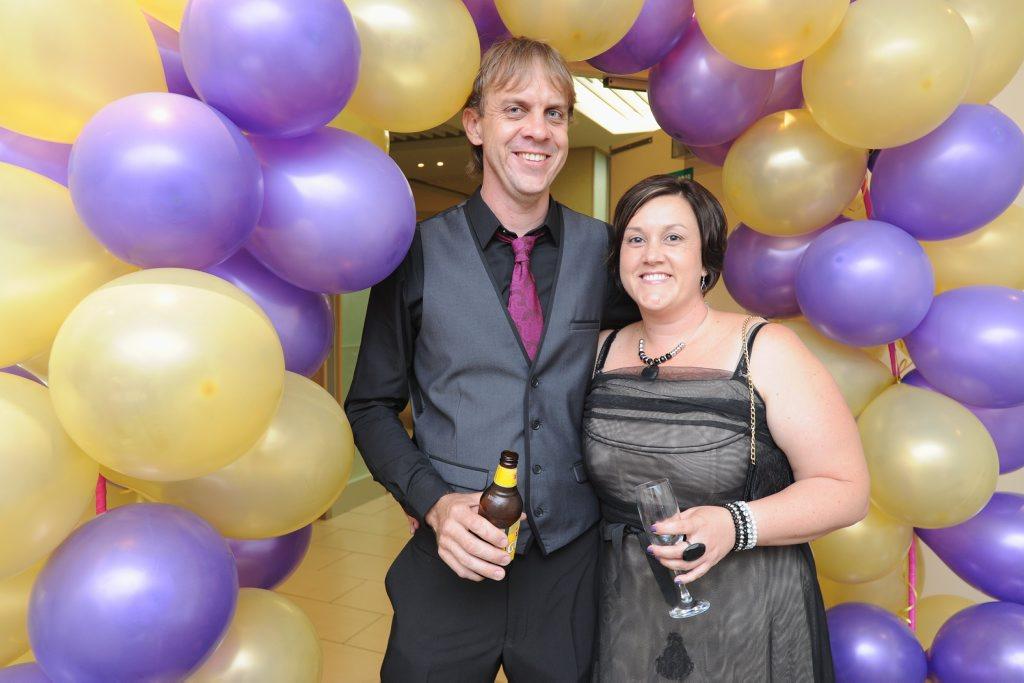 Mark and Natasha Robinson at last year's Hervey Bay Relay for Life Purple and Gold Ball.