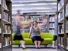 READ ABOUT IT: Grafton librarian Katrina Shillam takes time out at the new Grafton Library. Photo: Adam Hourigan