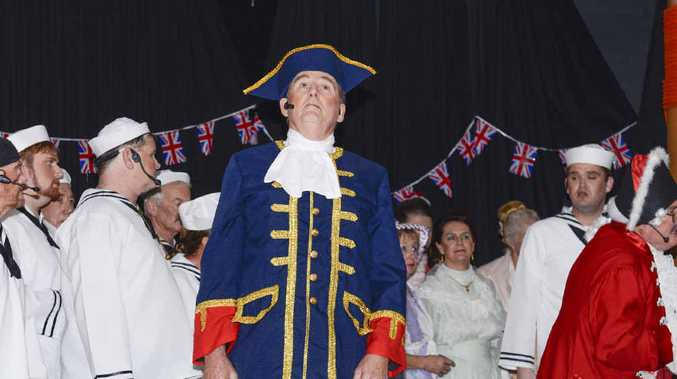 HILARIOUS: Captain of the Pinafore, Captain Corcoran (Duncan Taylor) performs for the Clarence Coast Theatrical Society production of the HMS Pinafore production at the Yamba Bowling Club on Sunday.