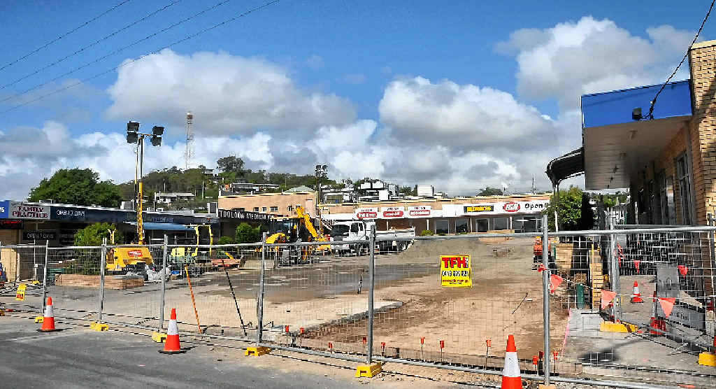 Toolooa St car park was closed for sewerage pipe repairs on Thursday and Friday after a pipe collapsed. Shops remain open.