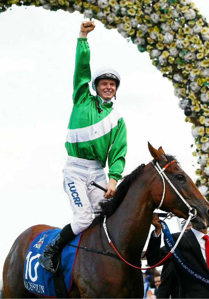 James McDonald celebrates riding Mossfun to win the Golden Slipper at Rosehill on Saturday.