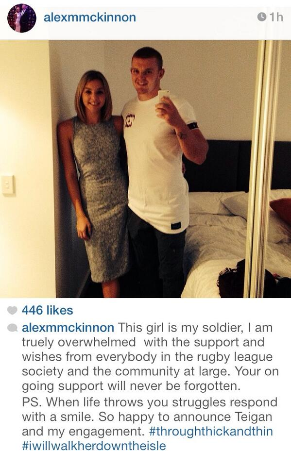 A screen grab of the response from the Newcastle Knights Alex McKinnon's announcement on Instagram.