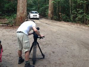 A crew from N-TV filming at Pile Valley on Fraser Island for a German travel show.