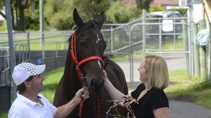 Trainer Paddy Cunningham (left with daughter Danielle) believes he has a live chance at Friday's Men Of League race meeting at Coffs Harbour.