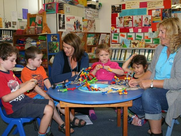 Clunes Community Preschool Director, Melinda Gambley (centre left), and Lismore Parish Centre Preschool Director, Pam Briggs, with children from Lismore Parish Centre Preschool. They are hoping to highlight the funding challenges faced by preschools after funding changes came into effect this year.