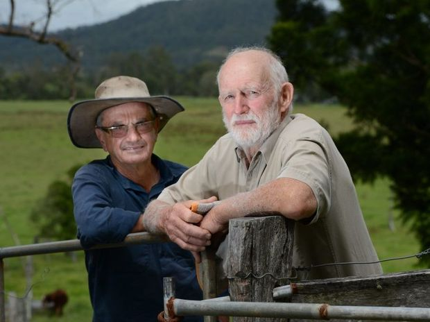 Bentley farmers Tony Davis, left, and Robert Lowrey don't want to see Coal Seam Gas activity divide their community.