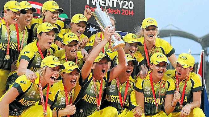 The Southern Stars celebrate winning the women's T20 World Cup.