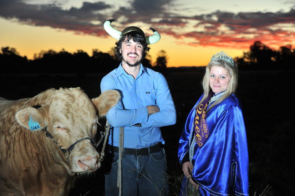 Golden Star (the bull), Dan Nicholson, Mr Beef 2012 and Amy Smith, Beef Week Queen 2012.