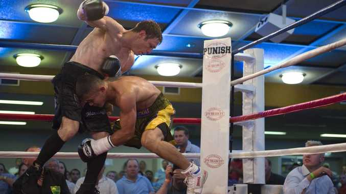 Michael Katsidis gets the better of Indonesia's Eddy Comaro during his comeback fight in Toowoomba last month.
