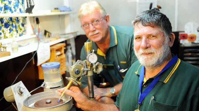 Hervey Bay Gem and Mineral Club member Barry Chapman (right) with president Terry Oldham.