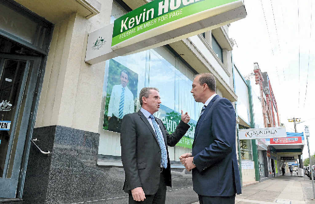 FUNDING QUESTION: Federal Health Minister Peter Dutton visited the Member for Page Kevin Hogan before a tour of the Ballina Hospital.