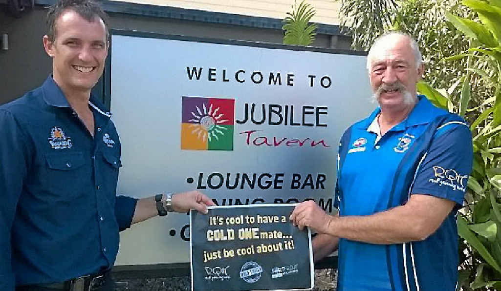 JOINING UP: Manager of the Jubilee Tavern Peter Scott has joined forces with Whitsunday Bald Eagles president Jack Lumby in promoting responsible drinking, thereby preventing 'one punch' incidents such as the one that killed AFL Masters legend Bruce Steenson.