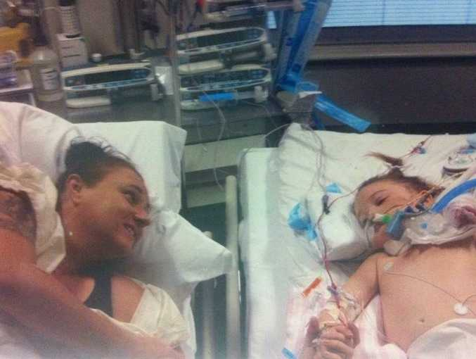 Tanya Wilkinson with daughter Abi, who woke out of a coma in hospital on Tuesday.